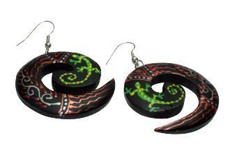 Wooden Earring Spiral With Lizard