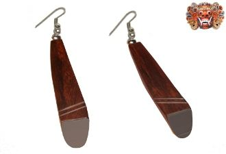 Wooden earrings, handmade inlaid with surgical steel. Model 399