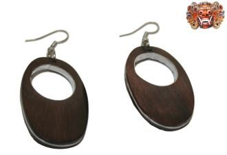 Wooden earrings, handmade inlaid with surgical steel. Model 405