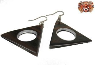 Wooden earrings, handmade inlaid with surgical steel. Model 407