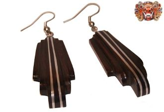 Wooden earrings, handmade inlaid with surgical steel. Model 408