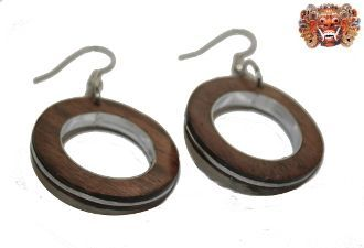 Wooden earrings, handmade inlaid with surgical steel. Model 409