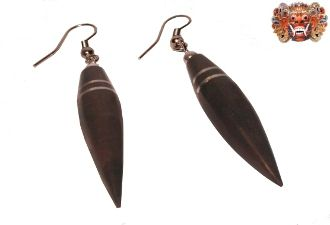 wooden earrings, handmade inlaid with surgical steel. Model 411