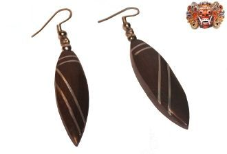 Wooden earrings, handmade inlaid with surgical steel Model 412