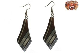 Wooden earrings, handmade inlaid with surgical steel. Model 413
