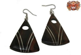 Wooden earrings, handmade inlaid with surgical steel. Model 414