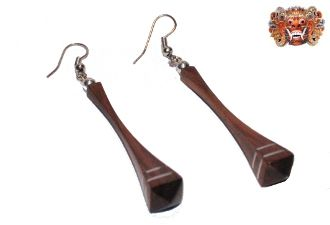 Wooden earrings, handmade inlaid with surgical steel. Model 418