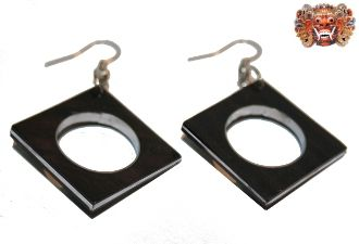 Wooden earrings, handmade inlaid with surgical steel. Model 421