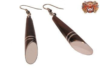 Wooden earrings, handmade inlaid with surgical steel. Model 423