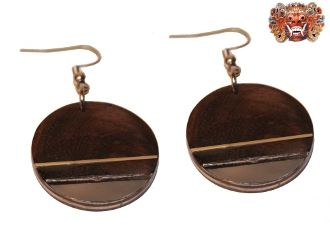 Wooden earrings, handmade inlaid with surgical steel. Model 424
