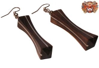 Wooden earrings, handmade inlaid with surgical steel. Model 425