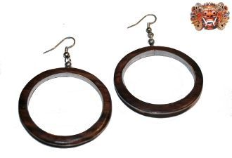 Wooden earrings, handmade inlaid with surgical steel. Model 427